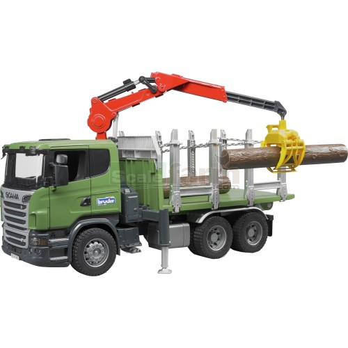 Scania R Series Timber Truck with Loading Crane and 3 Trunks (Bruder 03524)