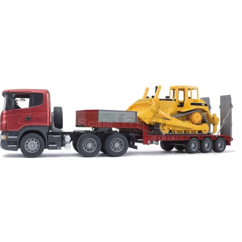 Scania R Series Low loader Truck with CAT Bulldozer (Bruder 03555)