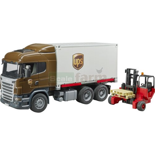 Scania R Series UPS Logistics Truck with Forklift and Pallets (Bruder 03581)