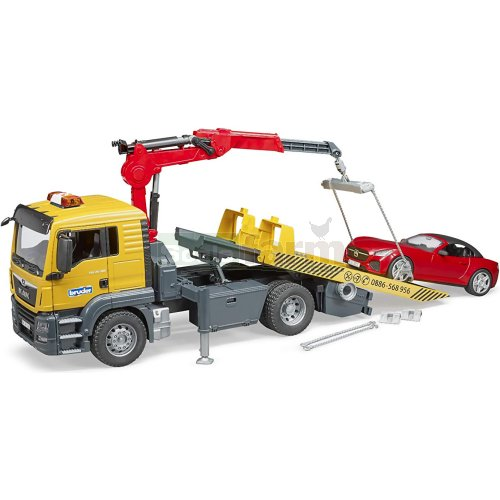 MAN TGS Tow Truck Recovery Vehicle with Bruder Roadster (Bruder 03750)