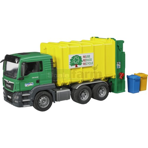 MAN TGS 26.500 Rear Loading Garbage Truck - Yellow & Green (Bruder 03764)