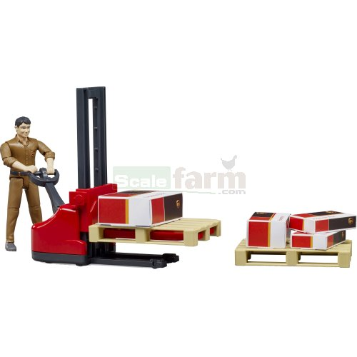 Logistics Set with Pallet Mover, UPS Figure and 2 Pallets (Bruder 62210)