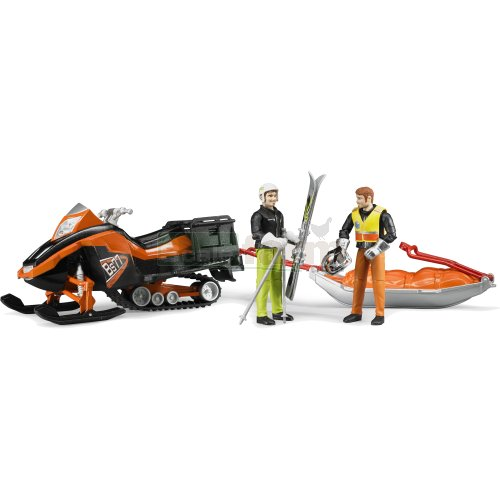 bWorld Snowmobile with Driver, Akia Rescue Sledge and Skier (Bruder 63100)