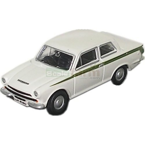 Ford Cortina Mk1 - Ermine White/Green (Oxford 76COR1001)