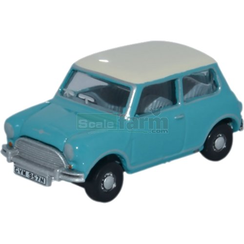 Classic Mini Cooper -  Surf Blue / Old English White (Oxford 76MN008)
