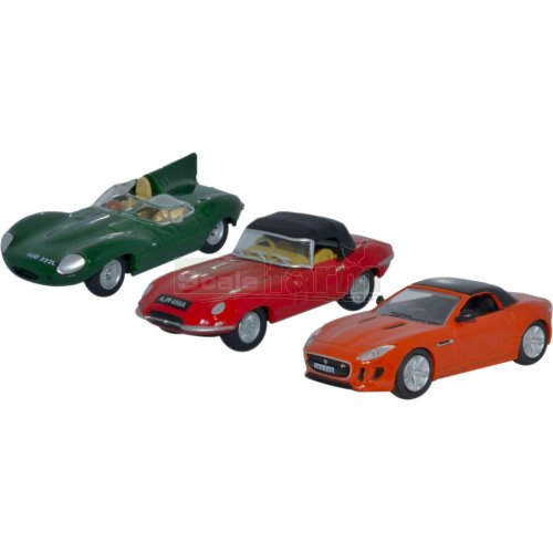 Jaguar 3 Car Set (Oxford 76SET48)