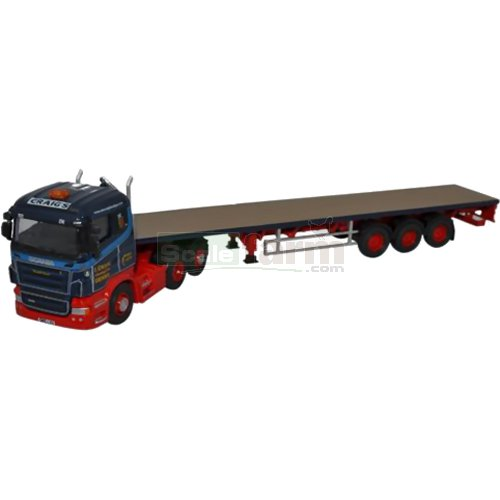 Scania Highline Flatbed Trailer- Ian Craig Haulage (Oxford 76SHL01FT)