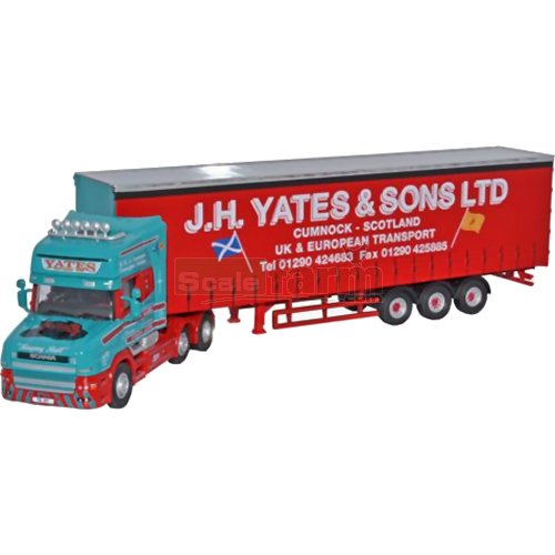 Scania T Cab Topline Curtainside - J H Yates (Oxford 76TCAB003)