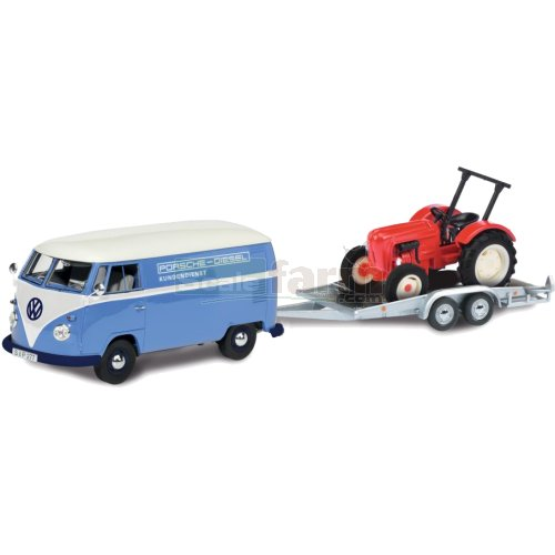 VW T1 with Trailer and Porsche Diesel Junior Tractor (Schuco 26328)