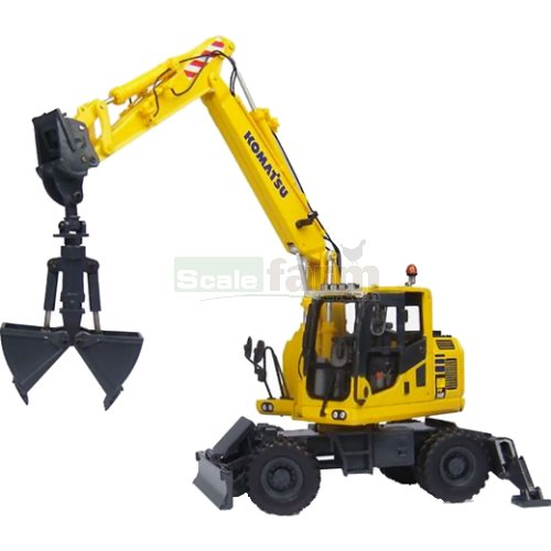 Komatsu PW148-10 Wheel Excavator with Clamshell Bucket (Universal Hobbies 8100)