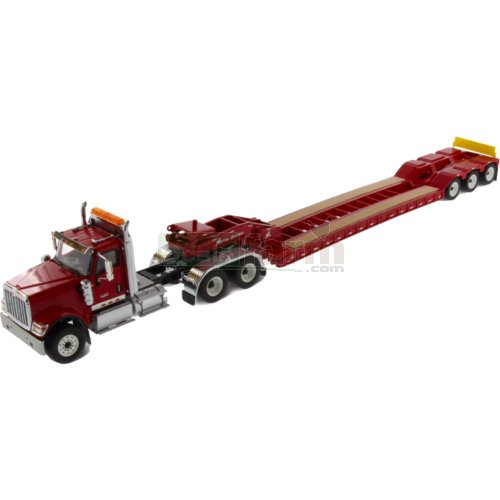 International HX520 Tandem Truck with XL120 Low-Profile HDG Trailer (Red) (Diecast Masters 71016)