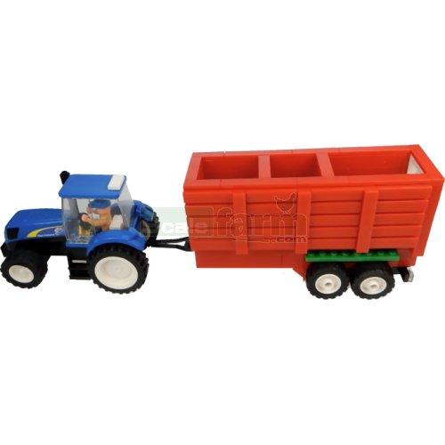 New Holland Tractor with Hopper Trailer Building Block Kit (Universal Hobbies K1210)