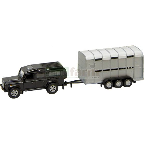 Pull-Back Landrover Defender 110 with Cattle Trailer (Kids Globe 521726)