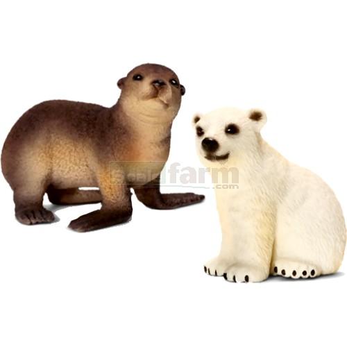 Schleich 21035 Wild Life Babies Polar Bear And Sea Lion Set 1